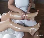 Lesbian erotic oiled feet massage