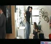 Kinky woman Lily Love takes two cocks