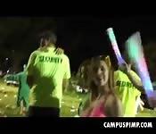 Punk Girlfriend Sucks At Campus Rave
