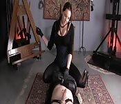 Femdom strokes and teases her submissive man.