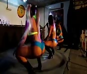 Brazilian dance team showing off their big asses.