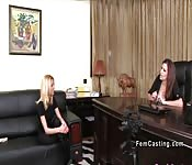 Petite blonde model licks big tits agent