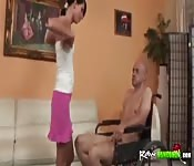 Cute girl gets fucked by handicapped guy