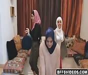 Muslim besties ride on stripper's cock