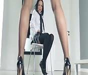 Hot schoolgirls undress herself in pants