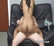 Pounding hot Latina pussy on casting