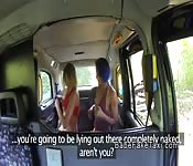 Lesbian fake taxi driver footing blonde