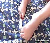 Hot brunette in foot fetish action