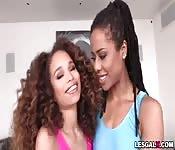 Hot black teen babes 1st lesbian ANAL showdown