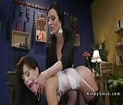 Wet lesbian in bondage anal fucked