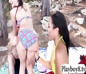 Two sexy girls nasty foursome outdoors