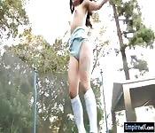 Gina Valentina anal sex on a trampoline