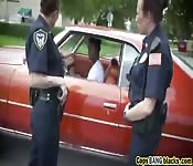 Doggy style outdoor threesome cops