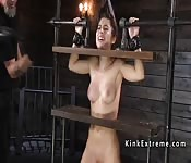 Sub in device bondage caned and whipped