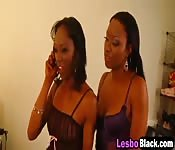 Ebony lesbians lick each other's pussy
