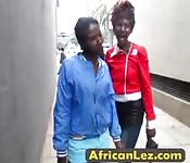 Soapy Busty African Lesbians in shower.