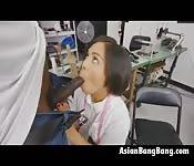 Asian Milcah Sweat Shop Blowjob