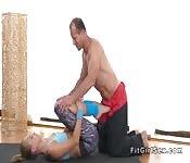 Yoga coach stretches and fucks blonde