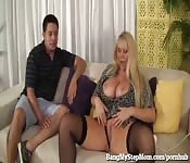 Son takes good care of blonde stepmom