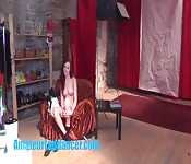 Gorgeous 18yo redhead shows body at her CASTING