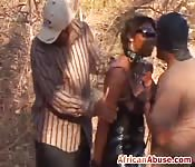 African slave sucking riding outdoors
