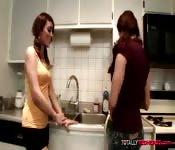 Redhead Lesbians Enjoy in Kitchen