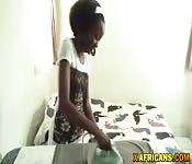 Slim Afro teen deals cock on live cam