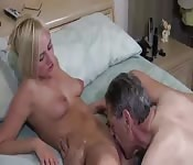 Blonde amateur fucks on the bed
