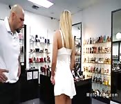 Busty Milf bangs shop owner for discount