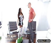 Super hot black maid fucks a white cock