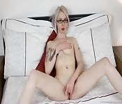 Nerdy Blonde Touches Herself