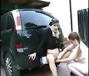 Italian chicks play outdoors banging dildo