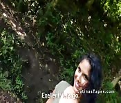 Natural busty Latina bangs by the river