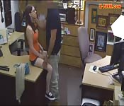 Babe with glasses screwed by pawn dude fuck