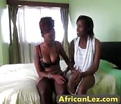 African lesbians play with new sex toys