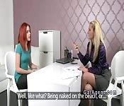Redhead licks Czech female agent