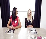Dyke babes dildoed during interview