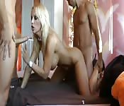 Blonde eurobabe and two cocks