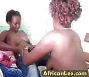 Mature African lesbians enjoy using toys
