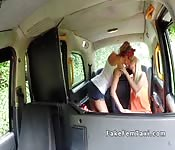 Huge tits taxi driver licks slim blonde