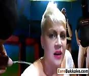 Euro blonde slut bukkake drenched in cum
