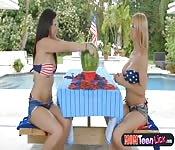 Lesbians exploding watermelon challenge
