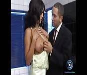 Naughty wife suprises her husband