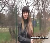 Perky brunette fucks outdoors for cash