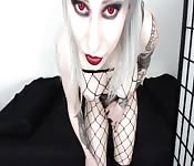 Platinum blonde goth with big tits loves to play