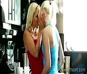 Blonde lesbian beauties live together
