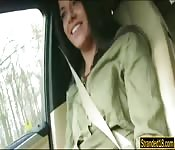 Skinny Eveline Dellai railed in the car