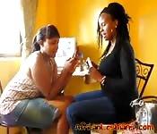Curvaceous black lesbians make love