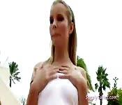 Blonde Hottie Strips and Masturbates