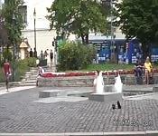 Huge tits slave bath in public fountain